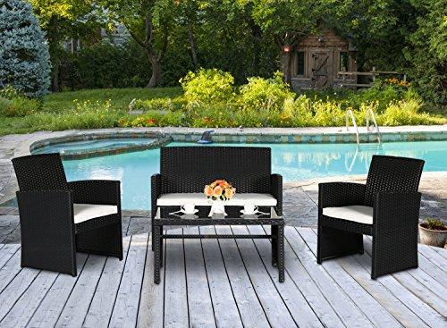 Cloud Mountain 4 PC PE Rattan Patio Furniture Set Wicker Outdoor Backyard Garden Lawn Sofa Cushioned Seat Chat Set Black