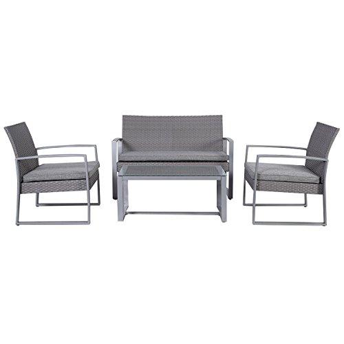 Giantex 4pc Patio Furniture Set Cushioned Outdoor Wicker Rattan Garden Lawn Sofa Seat