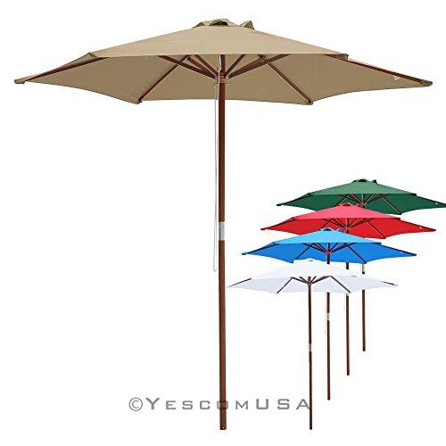 8ft Wood Outdoor Patio Umbrella w Pulley Market Garden Yard Beach Deck Cafe Wedding Party Sunshade