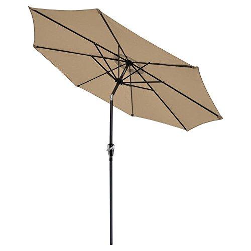9 ft Aluminum Outdoor Patio Umbrella Market Yard Beach with Crank Tilt Tan