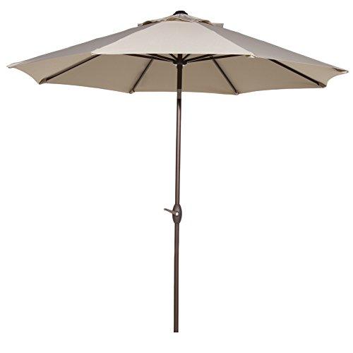 Abba Patio 11-feet Patio Umbrella Outdoor Market Umbrella With Push Button Tilt And Crank 8 Ribs Beige