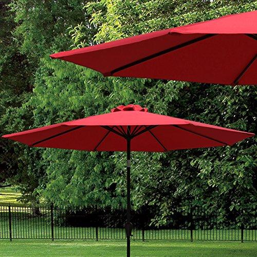 Cobana 9 Ft Outdoor Table Aluminum Patio Umbrella Market Umbrella With Push Button Tilt And Crank 8 Steel Ribs
