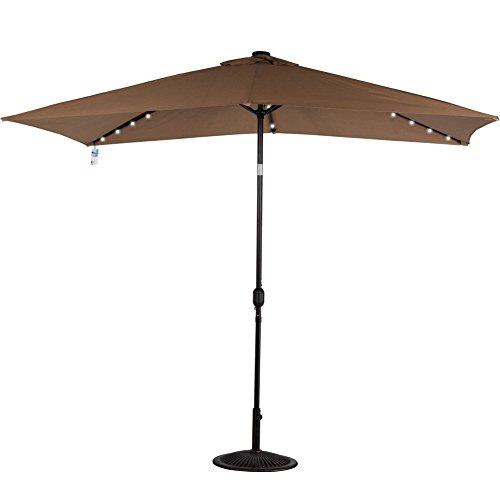Sundale Outdoor Rectangular Solar Powered 22 LED Lighted Outdoor Patio Umbrella with Crank and Tilt Aluminum 10 by 65-Feet Tan