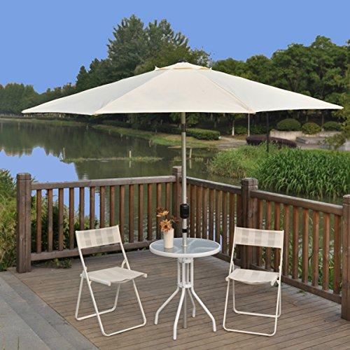 Tylors Garden 9 Ft Tilt and Crank Outdoor Patio Umbrella with Aluminum Pole UV Resistant 100 Polyester Beige