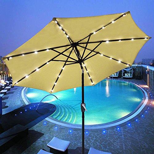 Yescom 9 Beige Outdoor Patio Garden Deck Aluminium Umbrella W 32 Solar Powered Led Crank Tilt Uv30