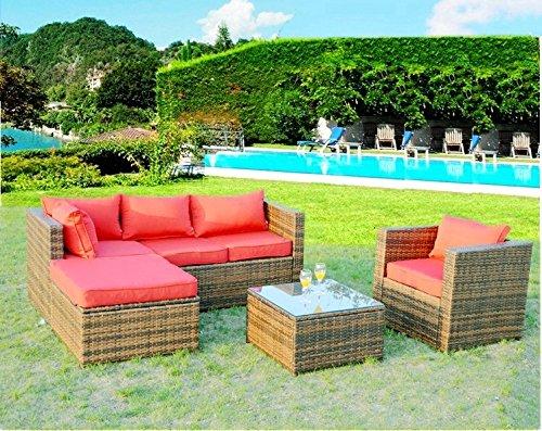 Sunbrella 5 Piece Outdoor PE Rattan Wicker Patio Furniture Set w Lounger Table Chair Red Sunbrella