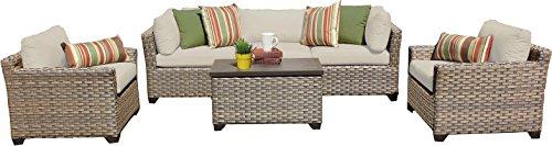 TK Classics MONTEREY-06b 6 Piece Monterey-06B Outdoor Wicker Patio Furniture Set Beige