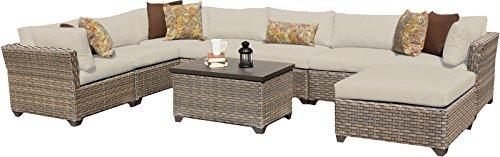 TK Classics MONTEREY-09b 9 Piece Monterey-09B Outdoor Wicker Patio Furniture Set Beige