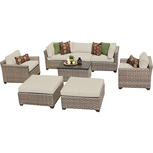 TK Classics Monterey 8 Piece Outdoor Wicker Patio Furniture Set 08a Beige