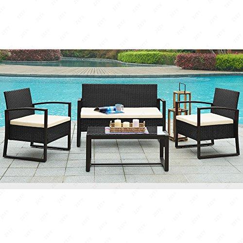 URattan 4PC Wicker Patio Furniture Set Sofa Table Cushioned Lawn Garden Outdoor Black