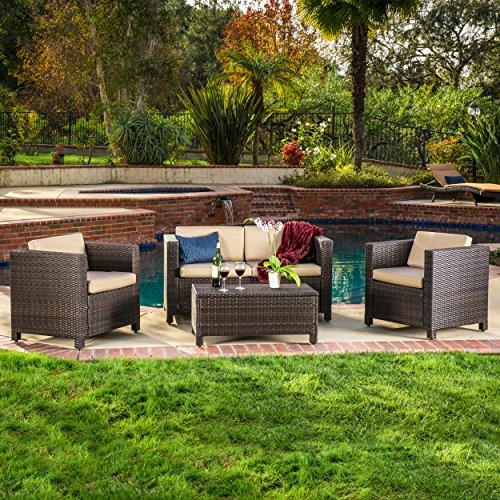 Venice Outdoor Wicker Patio Furniture Dark Brown Wicker Sofa Set