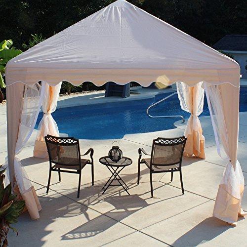 Canopy Gazebo Backyard Patio Furniture Cover Party Backyard Outdoor Bug Screen Walls13x13 Almond