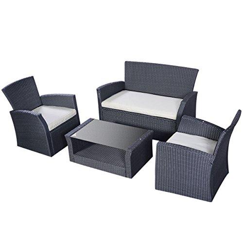 Indoor Outdoor Garden Backyard Patio Furniture Set 4 Sofa Chair Table Piece PE Rattan Wicker Poolside Conversation