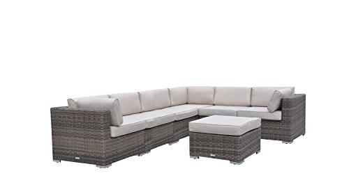 Radeway 7 Pc Modern Sectional Outdoor Patio Furniture Sets Backyard Wicker Rattan Sofa Set W Covers Brown