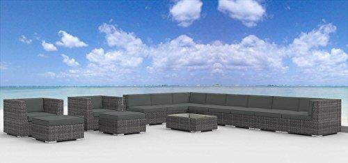 Urban Furnishing - Newport 14pc Modern Outdoor Backyard Wicker Rattan Patio Furniture Sofa Sectional Couch Set