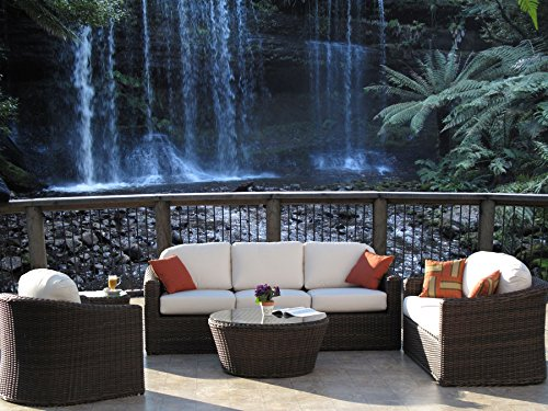 Outdoor Patio Resin Wicker Furniture Kota Sofa 5PC Set Made in USA Sunbrella Cushions Fully Assembled