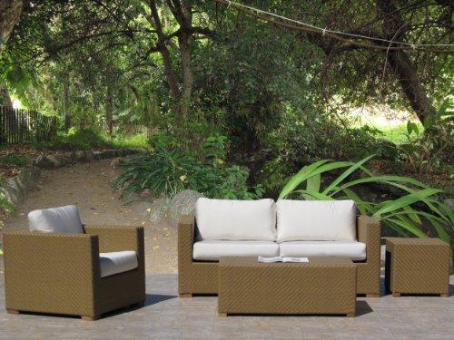 Peyton Outdoor Patio Resin Wicker Furniture 4PC Set Made in USA Sunbrella Cushion choice of 12 fabrics