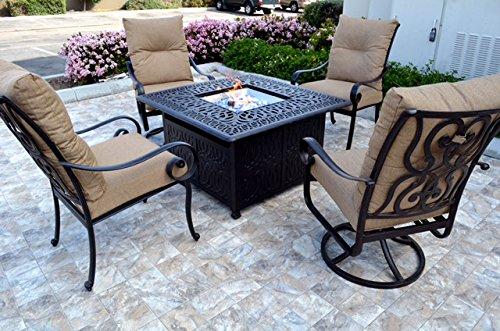 Conversation Set Patio Furniture Propane fire pit table outdoor cast aluminum Santa Anita 5 pc
