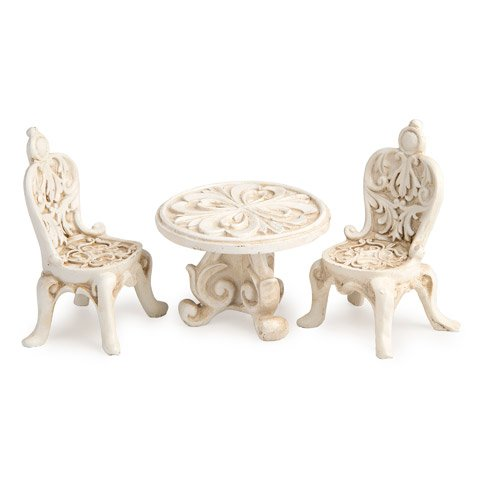 Mini Fairy Garden Fancy Resin Ivory Table and 2 Chairs Set 25 Inch Table