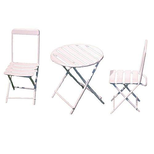 Provence BF3163 Iron Mini Fairy Garden Table Chair Set of 3 Cream