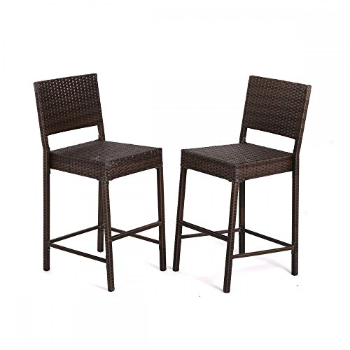 2 Pcs Outdoor Wicker Barstool All Weather Brown Patio Furniture Bar Stool