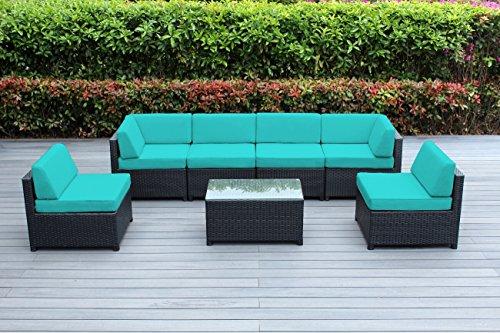 Ohana Mezzo 7-Piece Outdoor Wicker Patio Furniture Sectional Conversation Set Turquoise