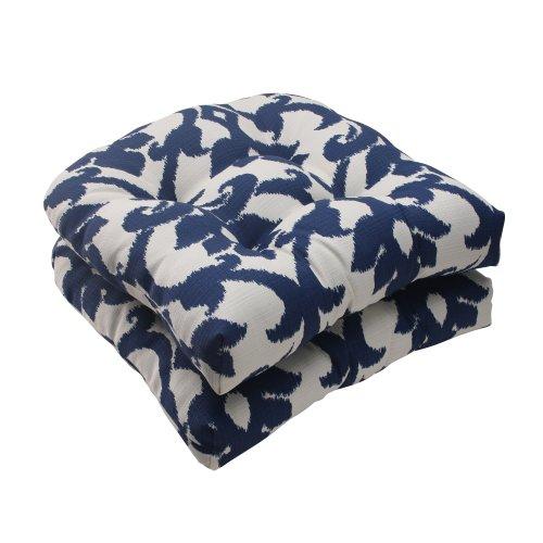 Pillow Perfect Indooroutdoor Bosco Wicker Seat Cushion Navy Set Of 2