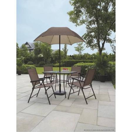 Mainstays Sand Dune 6-Piece Folding Patio Dining Set with Umbrella Seats 4