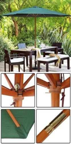 13 ft Wood Patio Outdoor Furniture Umbrella Green