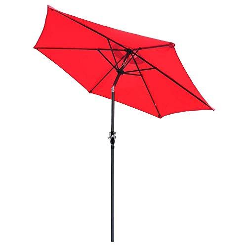 AMPERSAND SHOPS 8-Ft 6-Rib Outdoor Patio Furniture Tilt Umbrella Red