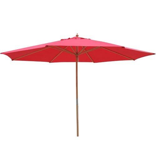 Jur_Global 13 Ft Wood Patio Outdoor Furniture Umbrella Red