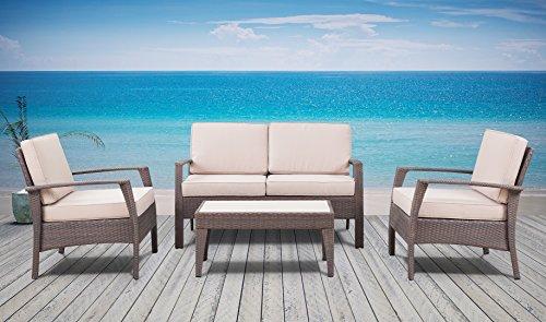 The Laguna Beach Collection - 4 Pc Outdoor Rattan Wicker Sofa Sectional Patio Furniture Set Choice Of Setamp Cushion