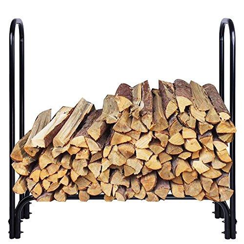 4 Ft Firewood Rack Outdoor Fireplace Log Holder Carrier Storage Series Steel Tube Black for Patio Furniture Gardening Backyard Garage