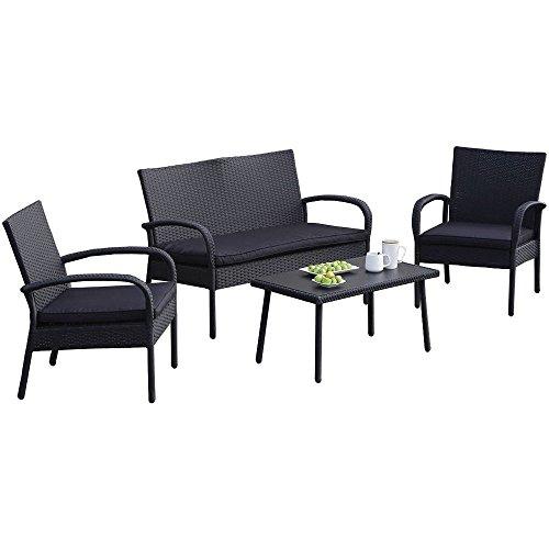 Carlota Furniture 4-Piece Wicker Rattan Patio Set with Detachable Cushions Seats - Black