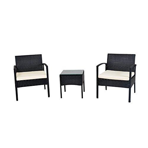 Ebs 3 Piece Rattan Wicker Garden Outdoor Lawn Patio Furniture Coffee Table  Sofa White Cushions Black Pe Set