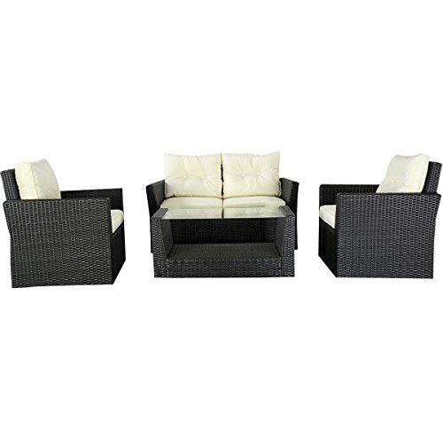Goplus&reg 4pc Patio Lawn Cushioned Seat Rattan Sofa Furniture Set  Black Wicker