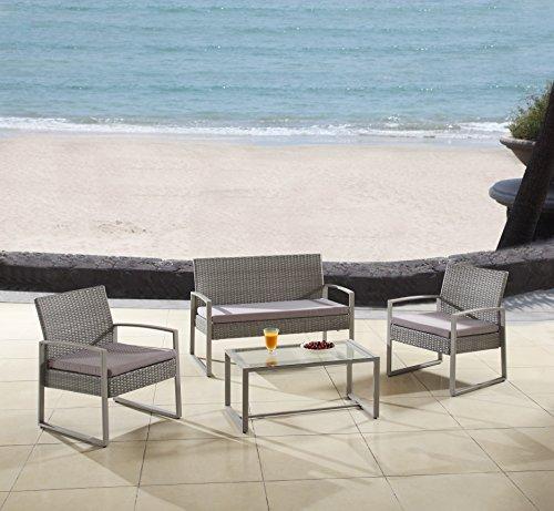 Modern Outdoor Garden Patio 4 Piece Seat - Gray Black Wicker Sofa Furniture Set Grey