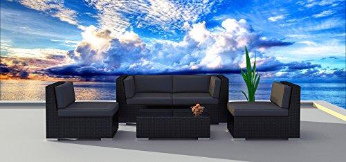 Urban Furnishingnet - Black Series 5a Modern Outdoor Backyard Wicker Rattan Patio Furniture Sofa Sectional Couch