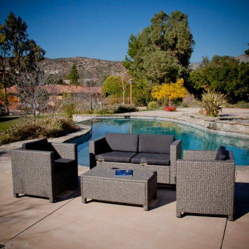 Venice Outdoor Patio Furniture 4 Piece Greyamp Black Sofa Seating Set W Cushions