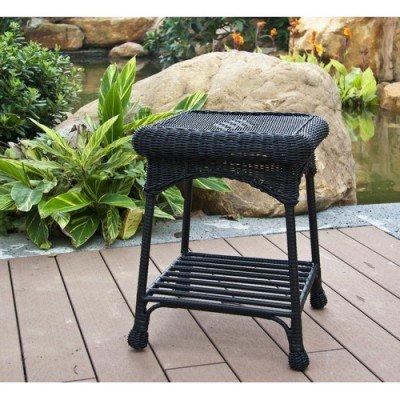 Wicker Lane Oti001-d Outdoor Black Wicker Patio Furniture End Table