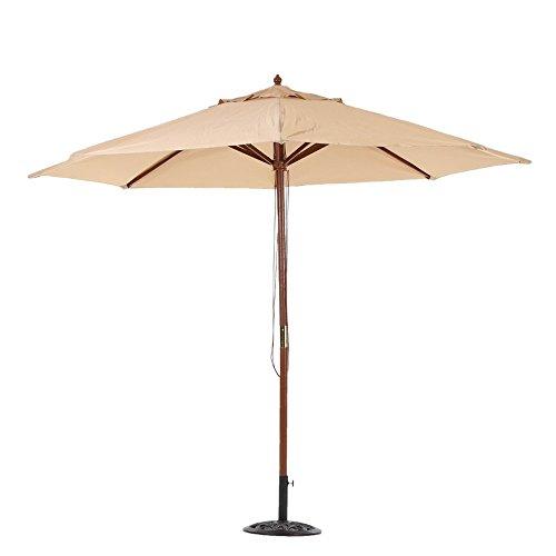 10Ft Wooden Market Umbrella Outdoor Table Umbrella with 8 Hard Wood Ribs Beige