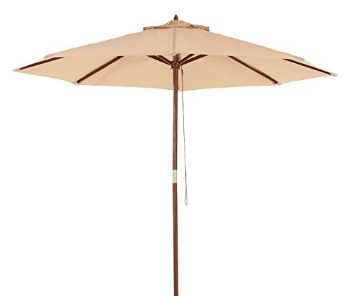 9Ft Patio Umbrella Outdoor Table Market Umbrella with 8 Hard Wood Ribs Beige