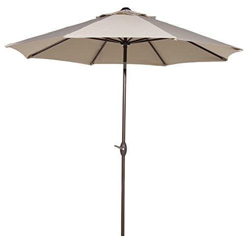 Abba Patio 9 Patio Umbrella Outdoor Table Market Umbrella With Push Button Tilt And Crank Beige