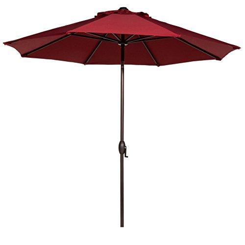 Abba Patio 9 Patio Umbrella Outdoor Table Market Umbrella With Push Button Tiltcrank 8 Ribs Red
