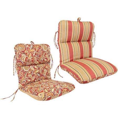 Jordan Manufacturing Reversible Deluxe Outdoor Patio Chair Cushion Echo Tripe Garnet