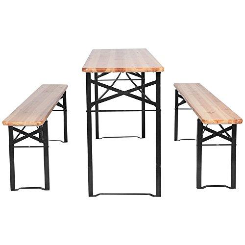 US Stock Anbeaut Christmas 3 Pcs Patio Folding Wooden Top Picnic Table