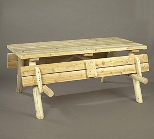 68 Outdoor Dining Natural Cedar Log Style Rectangular Wooden Picnic Table