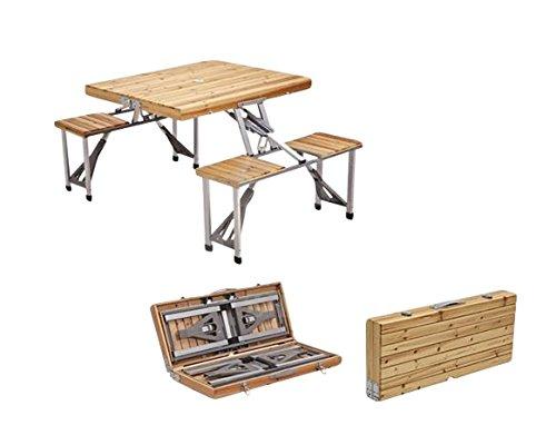 Plixio Portable Folding Wooden Picnic Table with 4 Bench Seats