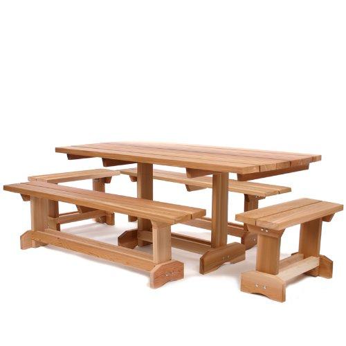 Cedar Picnic Table Outdoor Patio Set 10 Person