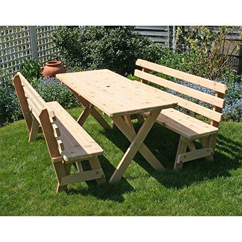 Creekvine Designs Cross-Legged Cedar Picnic Table with Benches
